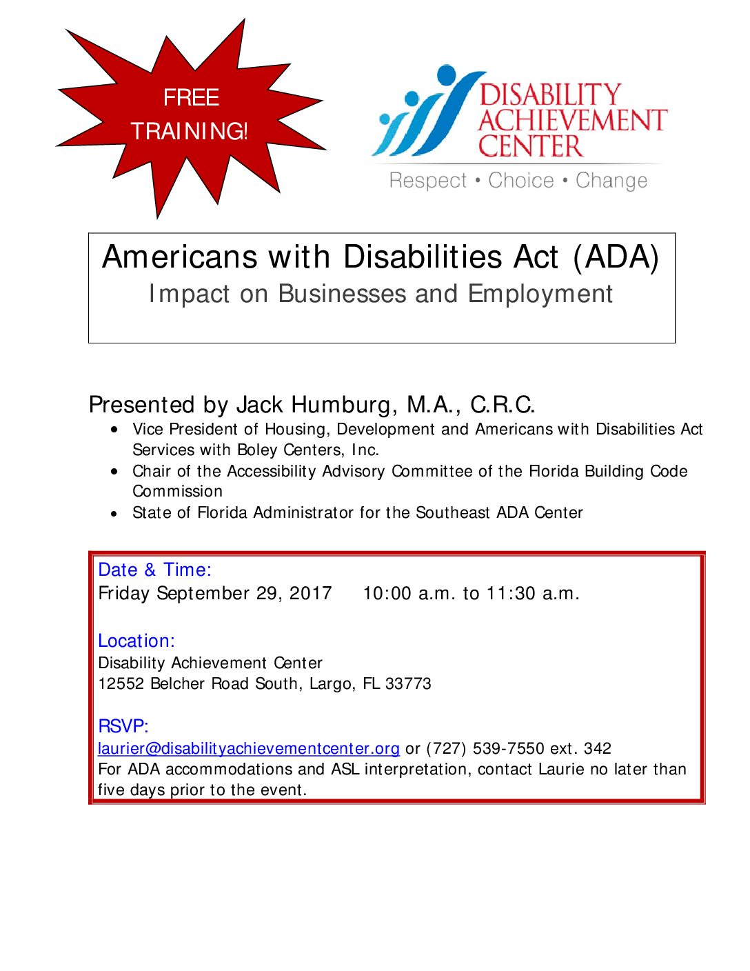 FREE ADA Training This Friday at DAC!