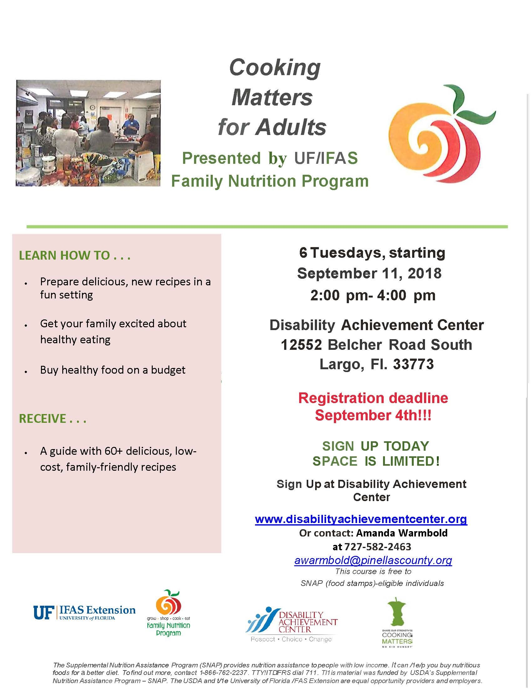 "Sign Up for ""Cooking Matters"" Classes Beginning Sept. 11th!"